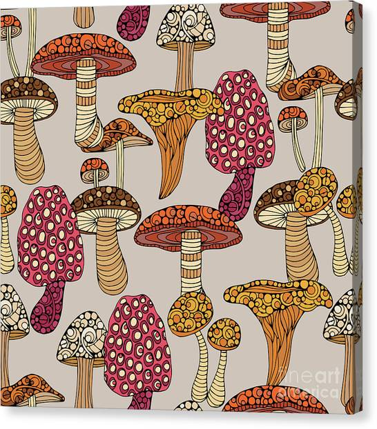 Mushrooms Canvas Print - Mushroom Pattern by Valentina