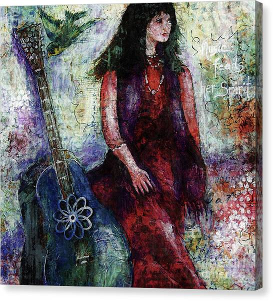 Canvas Print featuring the digital art Music Feeds Her Spirit Too by Claire Bull