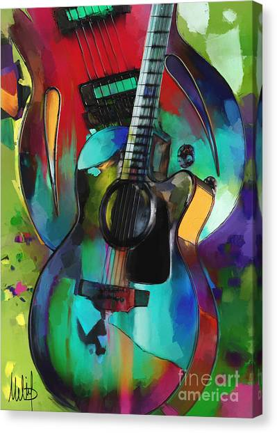 Acoustic Guitars Canvas Print - Music In Colour by Melanie D