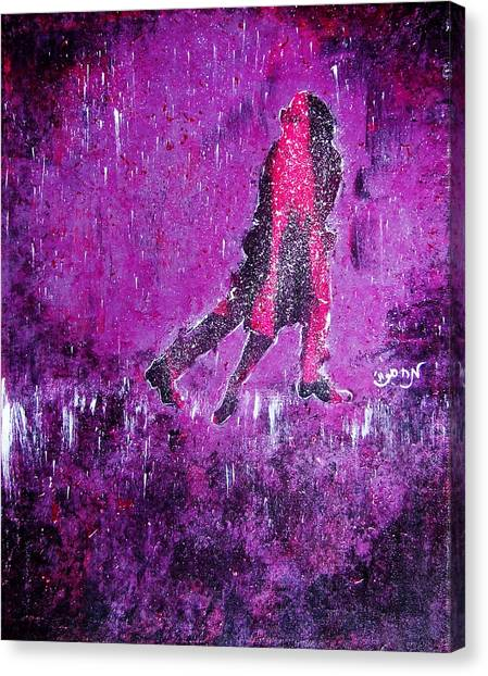 Music Inspired Dancing Tango Couple In Purple Rain Contemporary Lyrical Splattered And Emotional Canvas Print