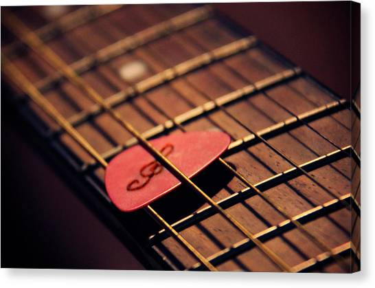 Guitar Picks Canvas Print - Music Key by Elodie Giuge