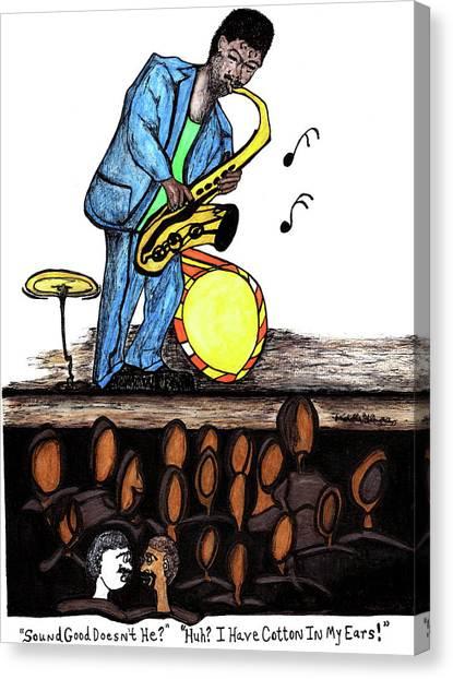 Music Man Cartoon Canvas Print