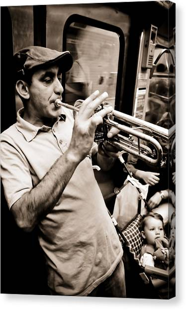 Music On The Metro Canvas Print by Pat Shawyer