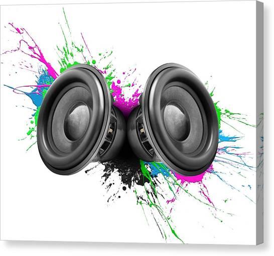 Speakers Canvas Print - Music Speakers Colorful Design by Johan Swanepoel