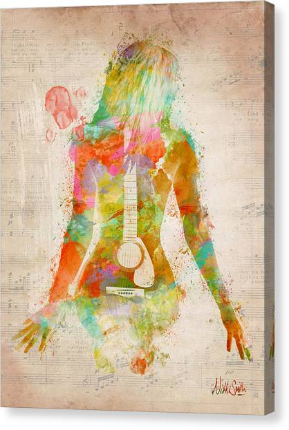 Electric Guitars Canvas Print - Music Was My First Love by Nikki Marie Smith