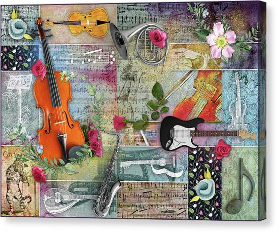 Musical Garden Collage Canvas Print