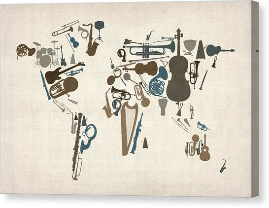 Music Canvas Print - Musical Instruments Map Of The World Map by Michael Tompsett