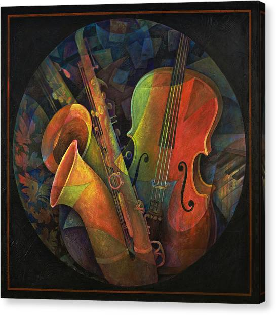 Cellos Canvas Print - Musical Mandala - Features Cello And Sax's by Susanne Clark