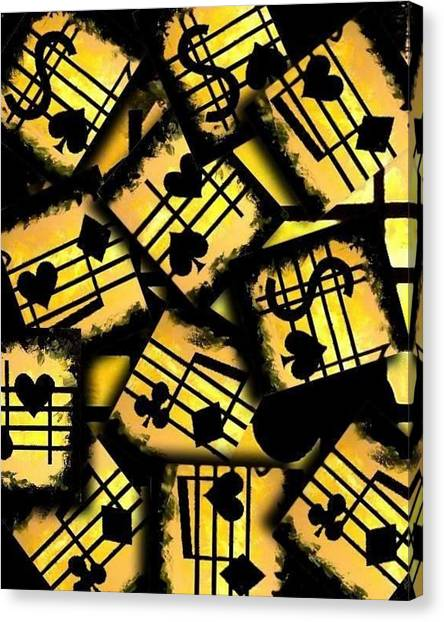 Musical Poker Casino Collage Canvas Print by Teo Alfonso
