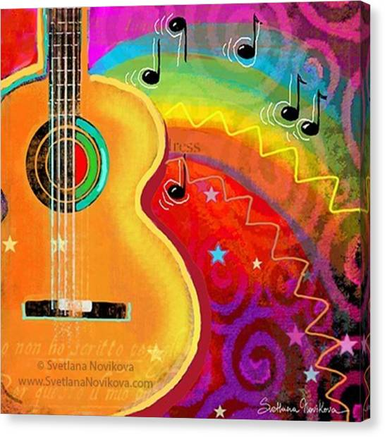 Guitars Canvas Print - Musical Whimsy Painting By Svetlana by Svetlana Novikova