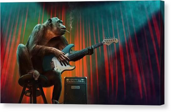 Chimpanzees Canvas Print - Music_animal by Yutaka Meguro