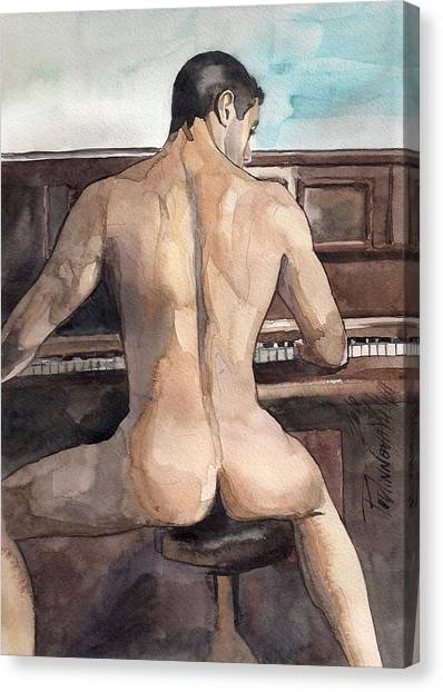 Erotic Canvas Print - Musician by Yuliya Podlinnova