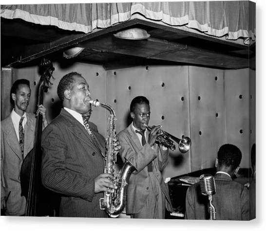 Canvas Print - Music's Golden Era - Charlie Parker And Miles Davis 1947 by Mountain Dreams