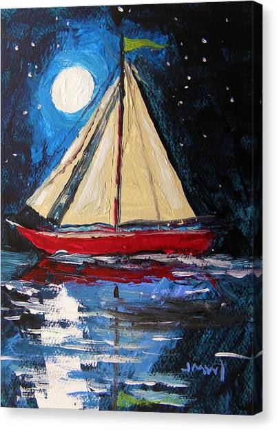 Musing-midnight Sail Canvas Print