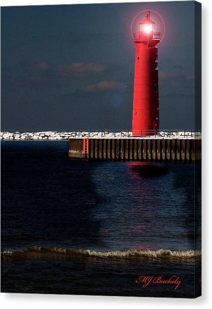 Muskegon Mi Lighthouse Canvas Print by Marti Buckely