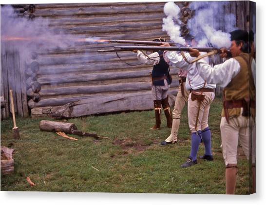 Musket Fire - 1 Canvas Print by Randy Muir