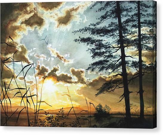 Lake Sunsets Canvas Print - Muskoka Dawn by Hanne Lore Koehler
