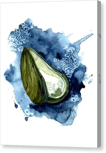 Seafood Canvas Print - Mussel Shell by Paul Gaj