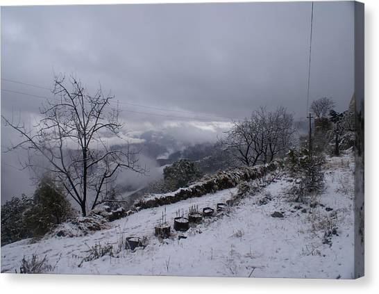 Mussoorie Winter - 2 Canvas Print by Padamvir Singh