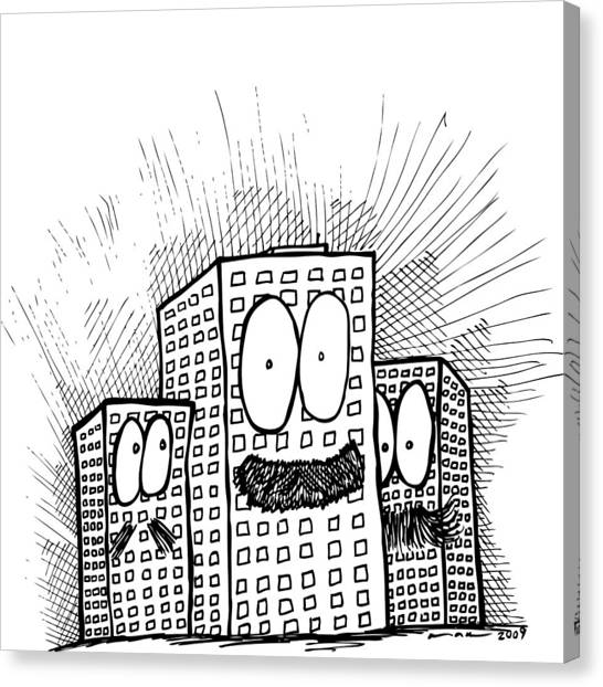 Mustachio Buildings Canvas Print by Karl Addison