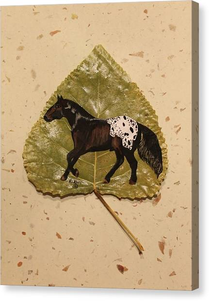 Mustang Appaloosa On Poplar Leaf Canvas Print