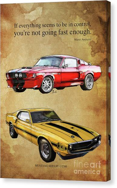 67 Canvas Print - Mustang Gt500 Ayrton Senna Inspirational Quote, Handmade Drawing, Two Portraits by Drawspots Illustrations