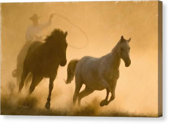 Mustang Roundup Canvas Print