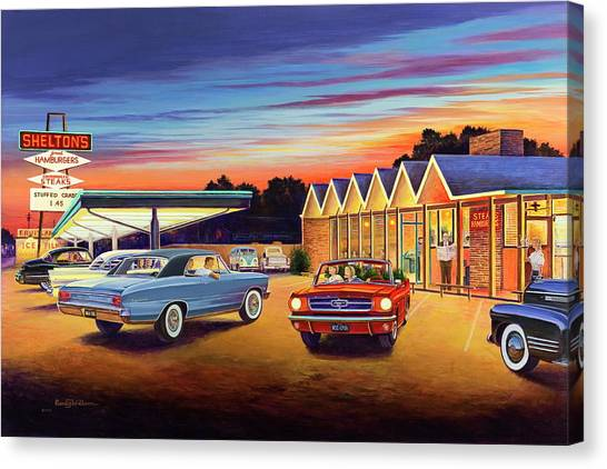 Diners Canvas Print - Mustang Sally - Shelton's Diner 2 by Randy Welborn