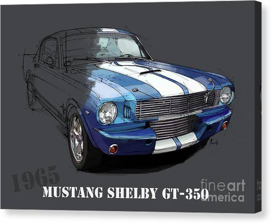 Arte Canvas Print - Mustang Shelby Gt-350, Blue And White Classic Car, Gift For Men by Drawspots Illustrations