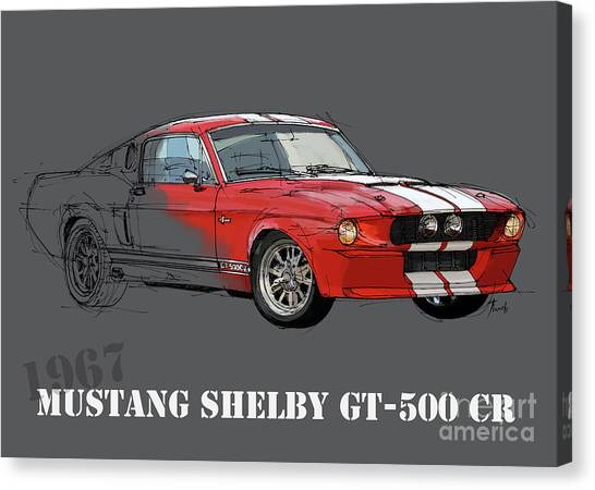 Arte Canvas Print - Mustang Shelby Gt500 Red, Handmade Drawing, Original Classic Car For Man Cave Decoration by Drawspots Illustrations