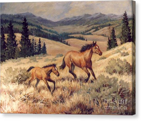 Mustangs      Mare And Foal Escaping Canvas Print by JoAnne Corpany
