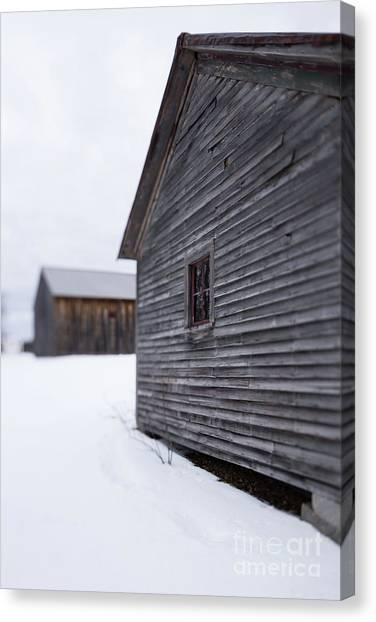 Canvas Print featuring the photograph Musterfield Farm North Sutton Nh Old Buildings In The Snow by Edward Fielding