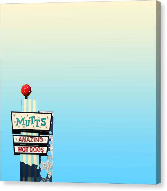 Hot Dogs Canvas Print - Mutts by Vincent Lee