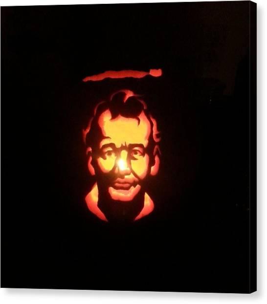 Ghostbusters Canvas Print - My 2014 Pumpkin  #halloween #pumpkin by Raymie Jackman