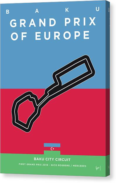 Formula Car Canvas Print - My 2017 Grand Prix Of Europe Minimal Poster by Chungkong Art