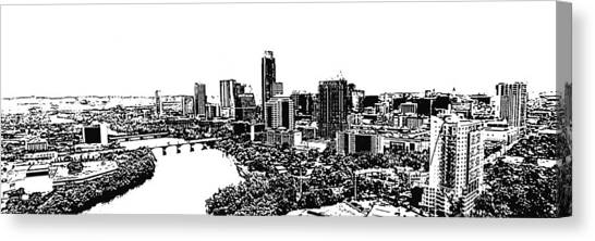 My Austin Skyline In Stamp Canvas Print