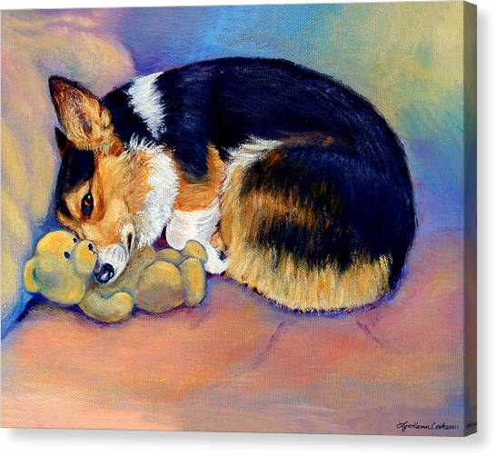 Teddy Bears Canvas Print - My Baby Pembroke Welsh Corgi by Lyn Cook