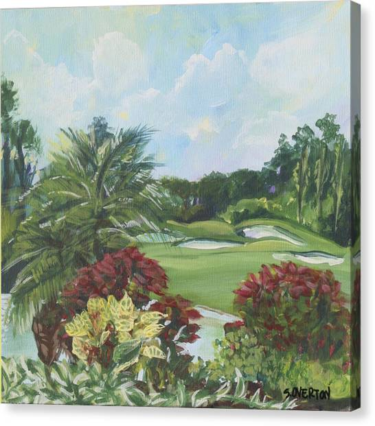 My Backyard Florida Acrylic Painting Art Canvas Print
