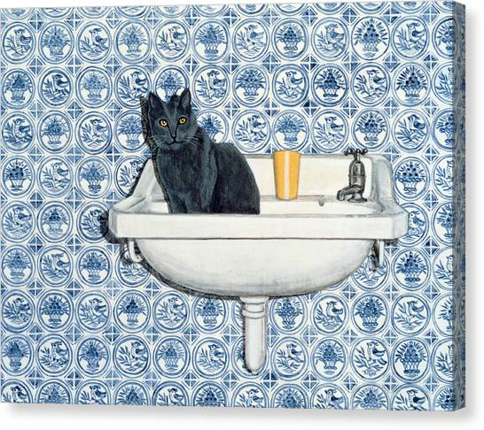 Chartreuxes Canvas Print - My Bathroom Cat  by Ditz