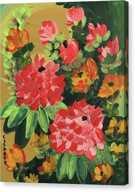My Brush Sings In The Garden Canvas Print