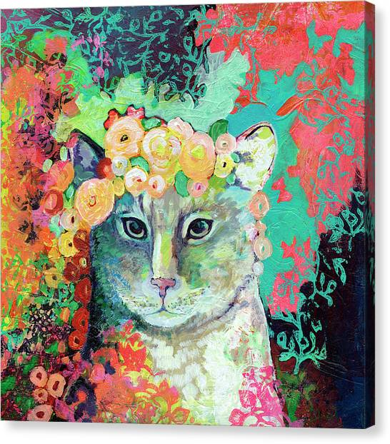 Abstract Rose Canvas Print - My Cat Naps In A Bed Of Roses by Jennifer Lommers