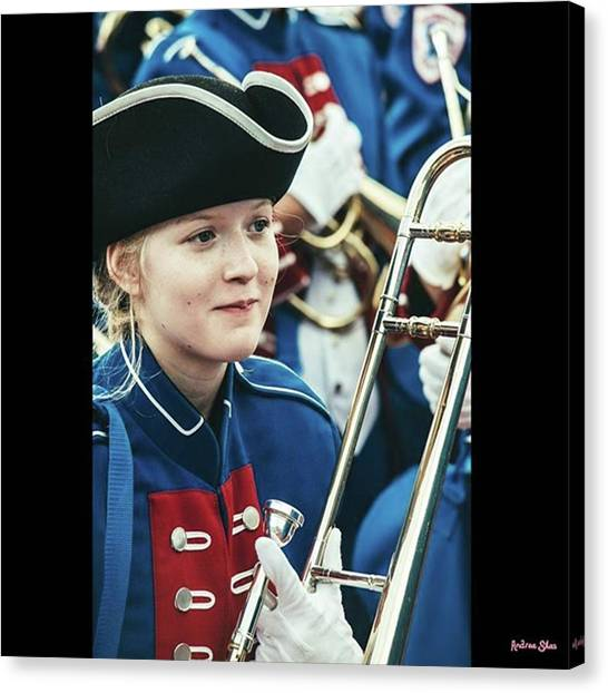 Trombones Canvas Print - My Daughter In Her Band Uniform 🙂 by Andrea Silas