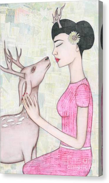 Girl Canvas Print - My Deer by Natalie Briney