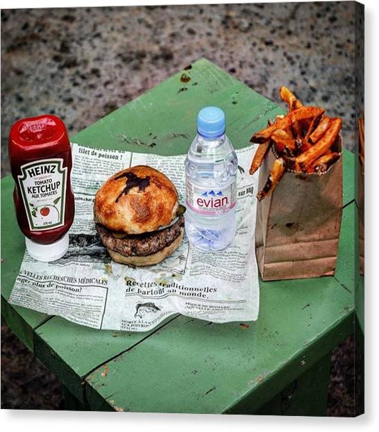 Ketchup Canvas Print - My #dinner #burger #fries #evianwater by Matt Sweetwood