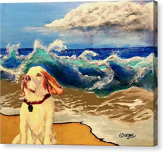 My Dog And The Sea #1 - Beagle Canvas Print