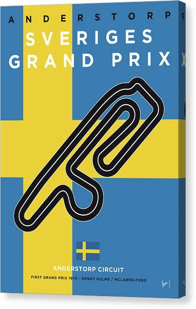 Swedish Canvas Print - My F1 Anderstorp Race Track Minimal Poster by Chungkong Art