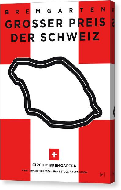 Switzerland Canvas Print - My F1 Bremgarten Race Track Minimal Poster by Chungkong Art