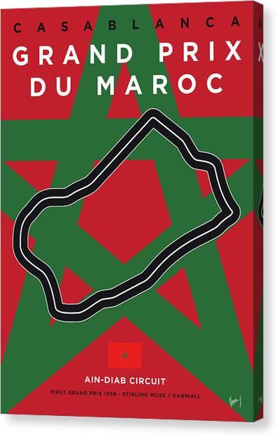 Moroccan Canvas Print - My F1 Casablanca Race Track Minimal Poster by Chungkong Art