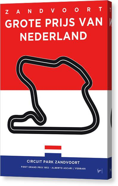 Formula Car Canvas Print - My F1 Zandvoort Race Track Minimal Poster by Chungkong Art