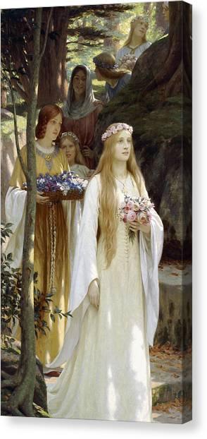 Wedding Bouquet Canvas Print - My Fair Lady by Edmund Blair Leighton